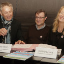 Patrick Vignal, député, Philippe Marin, conception et supervision du projet, Hélène Létang, présidente de l'association Kokcinelo